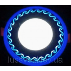 Lemanso LED панель Завитки круг 12+6W синяя подсв 1080лм