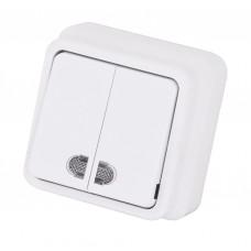 Выключатель 2-х клавишный с индикацией MISYA Белый