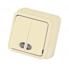 Выключатель 2-х клавишный с индикацией MISYA Крем