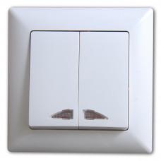 Выключатель 2-х клавишный  с подсветкой  САКУРА белый