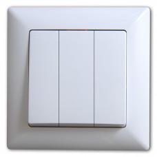 Выключатель 3-х клавишный САКУРА Белый
