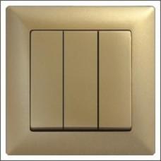 Выключатель VISAGE metallic 3-клавишный