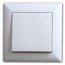 Выключатель 2-х клавишный САКУРА Белый