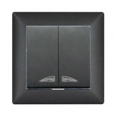 Выключатель 2-х клавишный  с подсветкой VISAGE черный