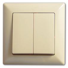 Выключатель 2-х клавишный САКУРА Крем