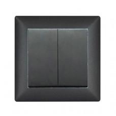 Выключатель 2-х клавишный VISAGE Чёрный