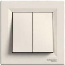 Выключатель 2-клавишный Asfora, крем