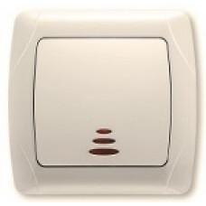 Выключатель одноклавишный с подсветкой (крем)