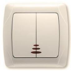 Выключатель двухклавишный с подсветкой (крем)