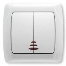 Выключатель двухклавишный с подсветкой