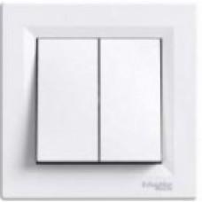 Выключатель 2-клавишный Asfora, белый